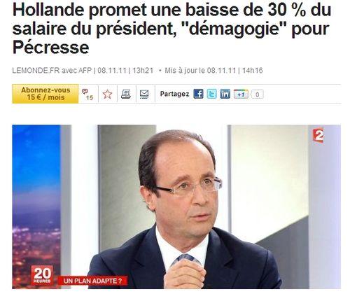 Hollande à 30 %